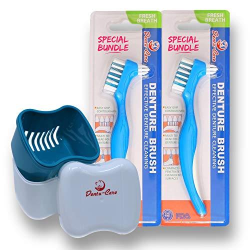 Dentu-Care Estuche para dentaduras con 2 cepillos de limpieza dental, estuche con tapa y cesta de drenaje para limpieza y almacenamiento