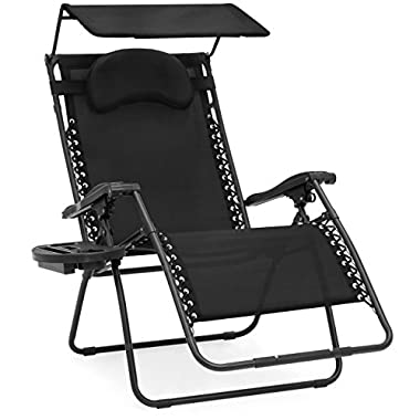 Best Choice Products Oversized Zero Gravity Reclining Lounge Patio Chairs w/Folding Canopy Shade and Cup Holder (Black)