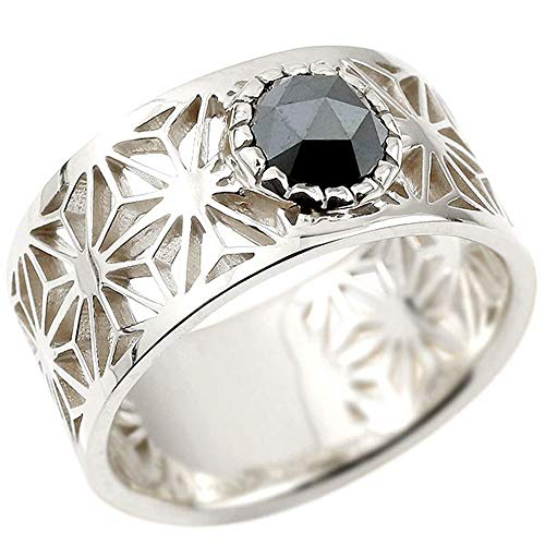 [アトラス]Atrus リング メンズ sv925 スターリングシルバー ブラックダイヤモンド 幅広 麻の葉 模様 和柄 切子 透かし 指輪 コントラッド 東京 大きめサイズ 22号