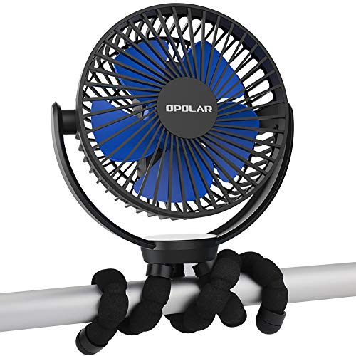 OPOLAR 5000mAh Akku Ventilator mit Flexiblem Stativ, Mini Ventilator Super Leise für Kinderwagen, Auto, Golfwagen Oder Outdoor, Camping, Zelt, Strand