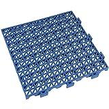 Pack de 4 losetas ventiladas antihumedad de PVC reforzadas para suelos de garajes - 33x33x2cm (Azul)