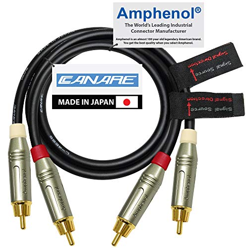 1.5 Foot RCA Cable Pair - Made with Canare L-4E6S, Star Quad, Audio Interconnect Cable and Amphenol ACPR Gold RCA Connectors