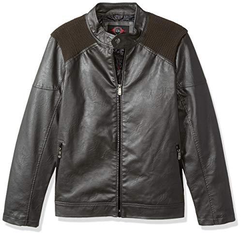Urban Republic Mens Faux Leather Jacket, darkcharcoal, L