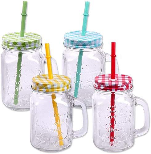 DRULINE Trinkgläser mit Henkel 6er Set Trinkbecher mit Strohhalm im Vintage Stil aus Glas | L x B x H 8 x 8 x 14 cm | 450 ml | 13 cm Transparent