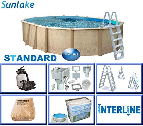 Interline 55000120 oval Pool Sunlake Durchmesser 6,10m x 3,60m, Tiefe 1,32m, Komplett Set 6m³/h, Wasserinhalt ca. 21m³
