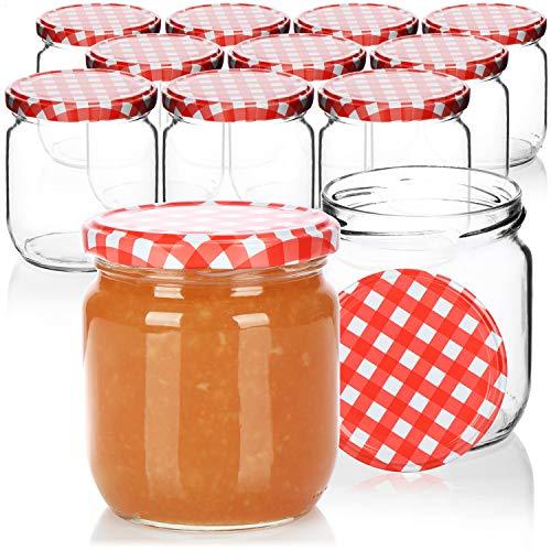 COM-FOUR® 12x Tarros de cristal con tapón de rosca a cuadros rojo/blanco - Potes de cristal para mermelada, hasta Ø 82 mm, hasta aprox. 425 ml