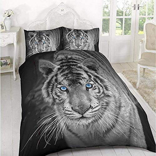 A&R New 3D Effect Duvet Cover, Bedding Sets Printed on Polyester Stuff with Pillowcases in Double, King Size (Double, Black White Tiger)