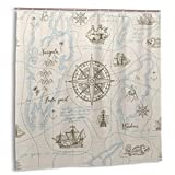 Nautical Shower Curtain for Bathroom Nautical Sailboat Map Shower Curtain Boat Sketch Ship Wheel Modern Compass Beige Sketch Ship Boat Anchor Waterproof Bath Curtain Nautical Holiday Shower Curtain