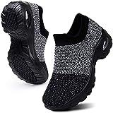 WOWEI Zapatillas Deportivas de Mujer Ligero Respirable Running Sneakers Mesh Plataforma Mocasines Zapatos de Cuña,Gris Negro,39 EU