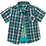 Healthtex Toddler Boys new size 3T Short Sleeve Plaid Shirt and Graphic Surfboards T-Shirt Set