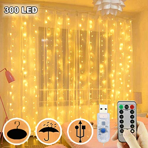 300 Led Curtain Lights Usb Plug In Window Lights 3m X 3m 8 Modes Remote Control Fairy Light Waterproof Led Copper String Lights For Outdoor Indoor