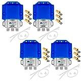 4 interruttori HQ DiseqC 2/1 con alloggiamento di protezione dalle intemperie HB-DIGITAL 2 X SAT LNB 1 X partecipazione/ricevitore per Full HDTV 3D 4K UHD + 12 X connettori F dorati