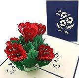 PopLife Cards Cama de flores 3d emergente tarjeta de felicitación para todas las ocasiones - seres queridos, pulgares verdes - pliegues planos, perfecto para enviar por correo - cumpleaños
