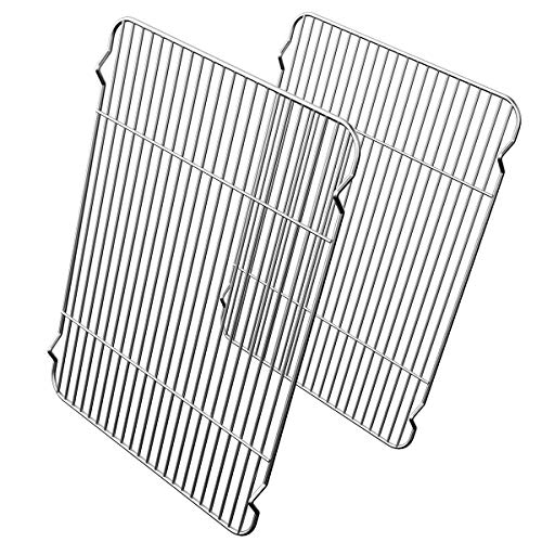 Small Baking Rack Pack of 2, HEAHYSI Stainless Cooling Rack for Cooking Baking Roasting Grilling Drying, Rectangle 8.66 x 6.29 x 0.6 Inch for Small Toaster Oven, Oven & Dishwasher Safe