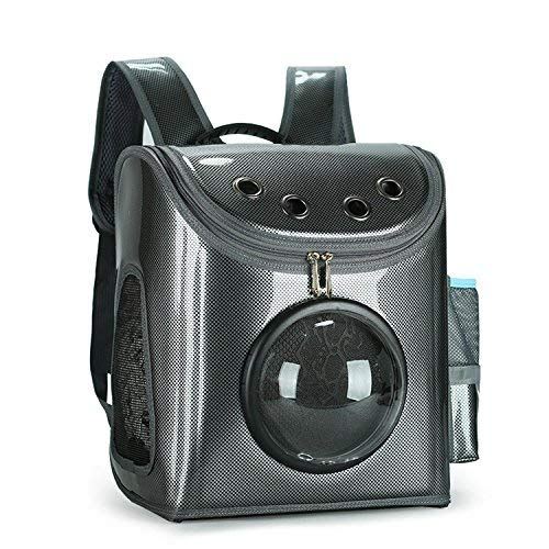Pet Carrier Backpack for Small Cats and Dogs,Outdoor Portable Travel Space Backpack for Puppy and Kitten,Including Three Windows Type and One Cotton Pad,Best Gift for Your Pets(Varnish Black)