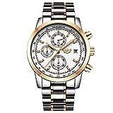 MHCYKJ Reloj de los Hombres de Moda del Deporte del Cuarzo del Reloj para Hombre Relojes de primeras Marcas Completa Steel Business Impermeable Reloj,F