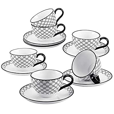 Porcelain Coffee/Tea Cup and Saucer Set, 6 Ounce Mugs for Coffee, Cappuccino, Latte, Americano and Tea - Set of 6 (Black Dot)
