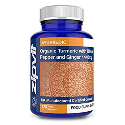 Organic Turmeric Curcumin 1440mg with Black Pepper & Ginger, 120 Vegan Capsules (2 Month Supply). Soil Association Certified. Vegetarian Society Approved.