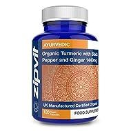 Organic Turmeric Curcumin 1440mg with Black Pepper & Ginger, 120 Vegan Capsules (2 Month Supply). So...