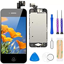 Compatible with iPhone 5 Screen Replacement Black 4.0 Inch Full Assembly LCD Display Digitizer with Front Camera, Ear Speaker, Proximity Sensor and Repair Tool Kit