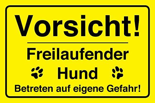 Vorsicht Hund Schild | 30 x 20 cm | Vorsicht! Bissiger Hund! | Hinweisschild 3mm | stabile Hartschaumplatte