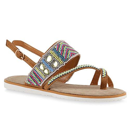 Damen Sandalen Ethno Style Zehentrenner Sommer Zierperlen Schuhe 140774 Hellbraun Ethno 36 Flandell