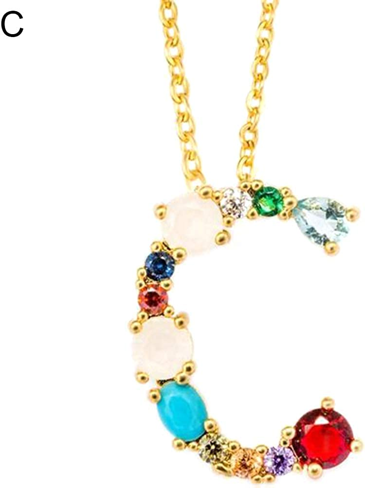 Alphabet Necklaces, Women Cubic Zirconia Inlaid 26 English Letters Pendant Chain Necklace Jewelry - A