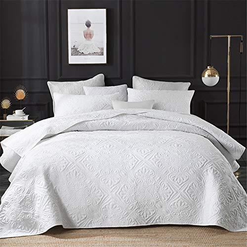3-piezas de King Size colchas blancas 100% de flores en relieve de algodón ligero acolchado colcha doble Lanza Coverlets de consolador con 2 funda de almohada