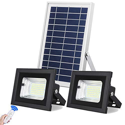 Solar Flood Lights Outdoor Dusk to Dawn Solar Powered Security Lights Shed Lights With Remote Dual 60 Leds IP67 Waterproof Solar Lights For Highlighting Yard Barn Landscape Patio Pool Flagpole Pathway