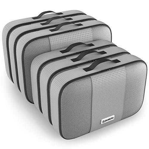 Savisto Packing Cubes, 6-teiliges Packtaschen Set für Urlaub, Reisen, Flugreisen - Ordnungssystem für Koffer, Handgepäck, Trolley, Reisetasche und Rucksack - Packwürfel Groß, XL (6 Pack) - Grau