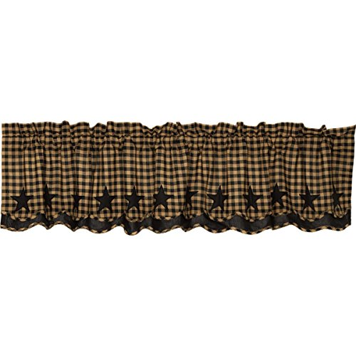 VHC Brands Black Star Scalloped Layered Valance 16x72 Country Curtain, Raven Black and Tan