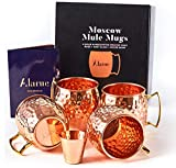 Moscow Mule Copper Mugs Set - 4 Authentic Handcrafted Mugs (16 oz.) with Shot Glass (2 oz.) - Food...