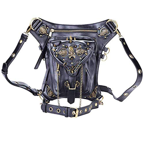 Retro Bag Steam Punk Retro Rock Gothic Goth Shoulder Waist Bags Packs Victorian Style for Women Men + Leg Thigh Holster Bag