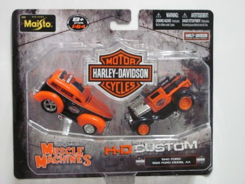 MAISTO MUSCLE MACHINES 1:64 HARLEY DAVIDSON H-D CUSTOM FORD MODEL AA 2 PACK by Maisto