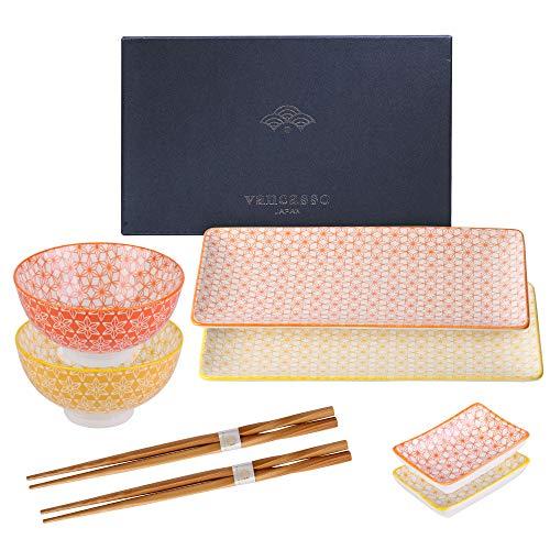 vancasso Serie Natsuki, Servizio Sushi Giapponese per 2 Persone in Porcellana, Set Piatti Sushi, Ciotole Salse, Bacchette, Set 8 Pezzi