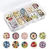 Botones 100pcs Madera Vintage Redonda Botones color Botones de Decoración Costura Y Elaboración Suéter Camisa Accesorios de suéter para Hombres Señora Niño