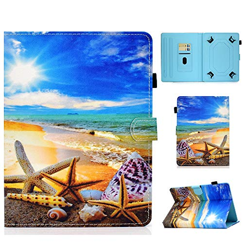 Universal Case for 9-10.1 Inch Tablet Stand Cover Protective Shell for Fire HD 10 Huawei MediaPad T3/T5 10 Fusion5 10.1' iPad 10.2 2019 Galaxy Tab A 10.1/Tab E 9.6 Lenovo Tab 3 (Beach)