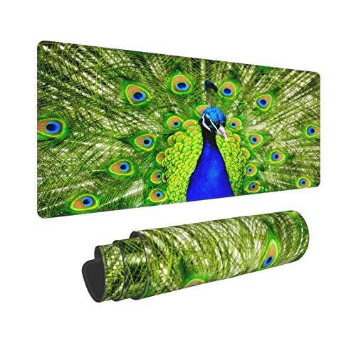 PATINISA Stor spelmusmatta vacker påfågel med öppen skärm blå grön halkfri gummi musmattor musmatta för speldator kontorsskrivbord, 80 x 30 x 0,3 cm