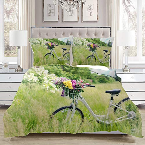 Best Deals! Bicycle Bedding Comforters,Luxury Soft Comfortable,Bicycle Meadow Flowers Grass Spring G...