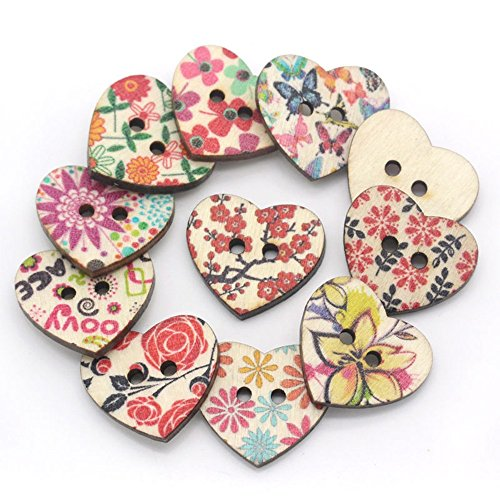 DAWEIF 100 Pcs Multi-Color 2 Holes DIY Heart Shaped Decorative Button DIY Wood Buttons for Sewing Clothing Crafts