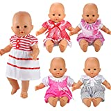 BARWA Handmade 5 Pcs Dresses Clothing Lovely Clothes Costume for 14 to 16 Inch Doll and 18 Inch Doll