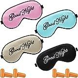 4 Pieces Sleep Eye Masks Silk Sleep Eye Cover Lightweight Adjustable Eyeshade Mask Satin Night Eyeshade Cover with 4 Pairs Earplugs for Women Men Sleep Travel Nap (Pink, Black, Beige, Light Blue)