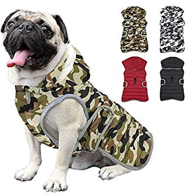Etechydra Dog Jacket Coat with Detachable Hat, Waterproof Dog Vest for Outdoor Indoor, Winter Warm Fleece Lining Dog Apparel, Dog Sweater Clothing for Small Medium Large Dog, Green, XL