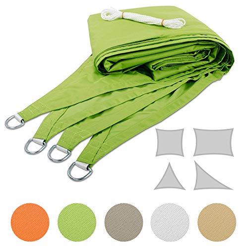 Mammut Sonnensegel für Garten, Balkon und Terrasse | Dicke Premium Qualität | wetterbeständig und atmungsaktiv | große Auswahl an Formen, Größen und Farben | Rechteck Grün 3x5 m