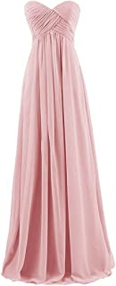 HAWEE Sweetheart Neckline Strapless Dress Long Chiffon Wedding Gown Floor Length