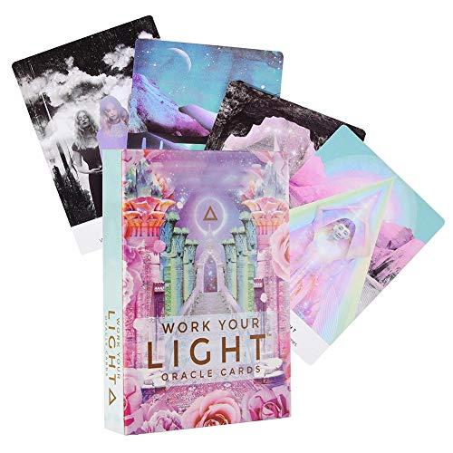 Work Your Light Oracle Cards: 44 Cartas de Oracle Work Your Your Light Cartas del Tarot Juegos de Cartas Cartas para Objetivos de Vida, comunicación, relaciones, nuevos comienzos, Salud, Amor