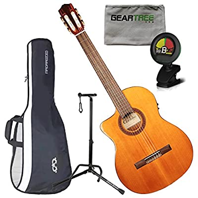 Cordoba C5-CE Left Handed Electric Nylon String Guitar w/Cloth, Stand, Tuner, a