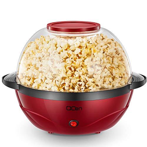 Qcen Popcornmaschine, 2 in 1 Popcorn Maker, 24 Tassen, 850W elektrisches Rühren mit Quick-Heat-Technologie, Abnehmbares Heizfläche Antihaftbeschichtung und große Deckel, Spülmaschinenfest, 5 Liter