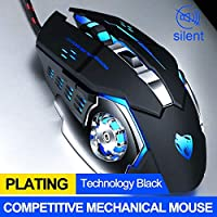 マウス プロゲーマーゲーミングマウス8D 3200DPI調節可能な有線光学LEDコンピューターマウスUSBケーブルの静かなマウス用ラップトップPC用 ラップトップのためのマウス (Color : V6 Black)