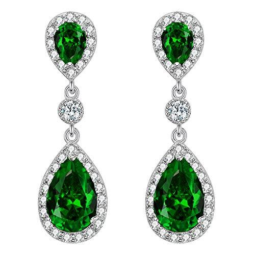 EleQueen 925 Sterling Silver Full Prong Cubic Zirconia Birthstone Teardrop Bridal Dangle Earrings Emerald Color